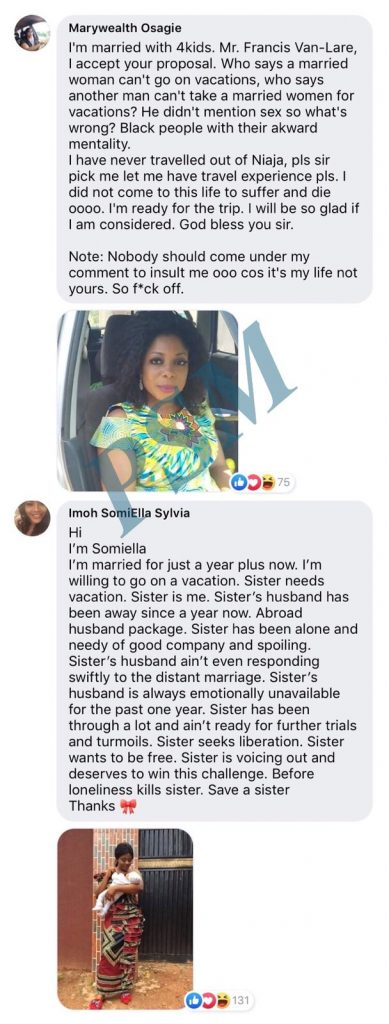 Exposed! Nigerian wives apply to travel with globetrotting playboy (Names and Photos)