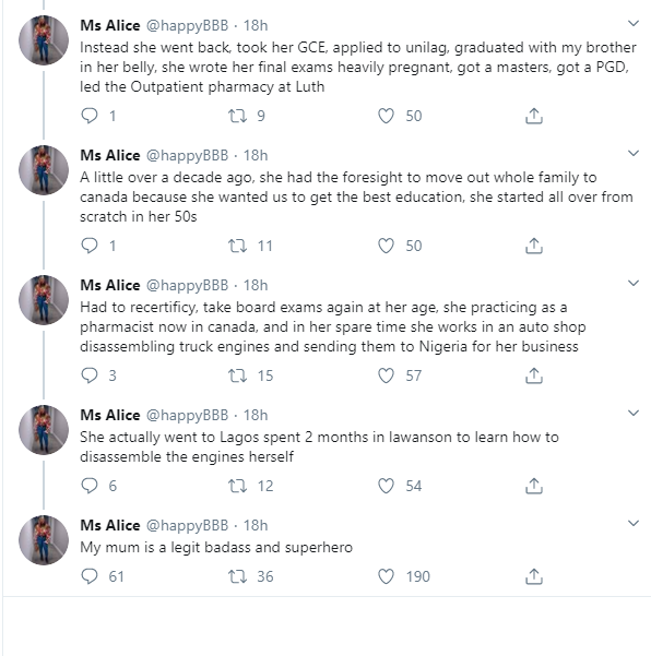 Nigerian lady narrates how her 'superhero' mother became successful after running away from her abusive father and stepmother