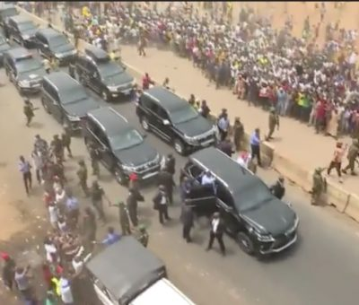 See the crowd the welcomed President Muhammadu Buhari in Ondo State