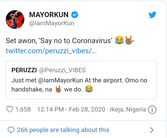 I Couldn't Shake Hands With Mayorkun Due To Coronavirus - Peruzzi