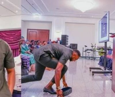 Picture of Odunlade Adekola prostrating for Vice president, Yemi Osinbajo's wife goes viral