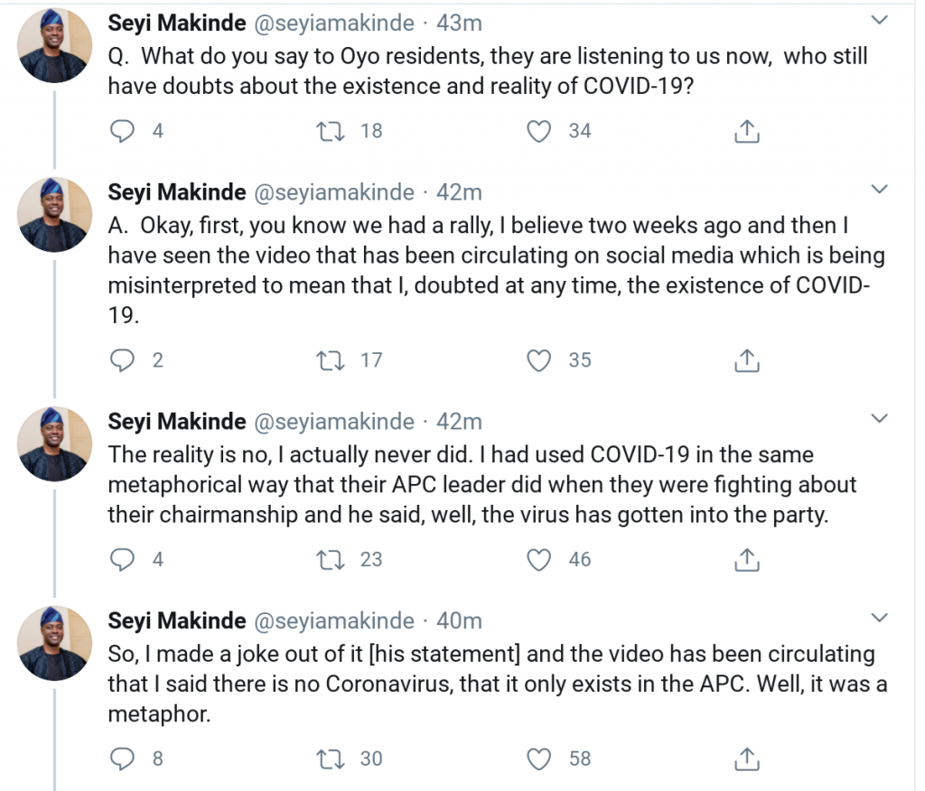Seyi Makinde reveals how he got infected with COVID-19, speaks on statement in viral PDP rally video