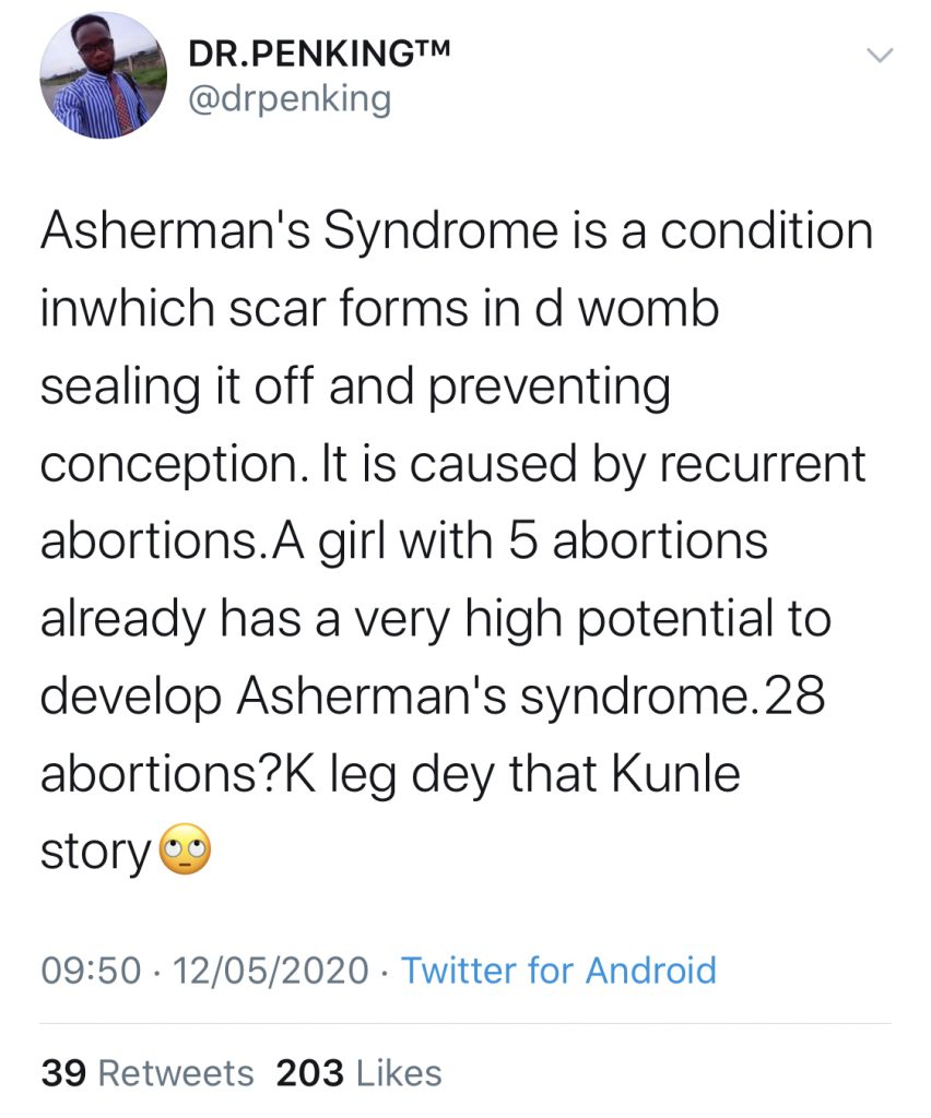 Twitter Stories: lady reportedly  did 28 abortions for her fiance and he still dumped her