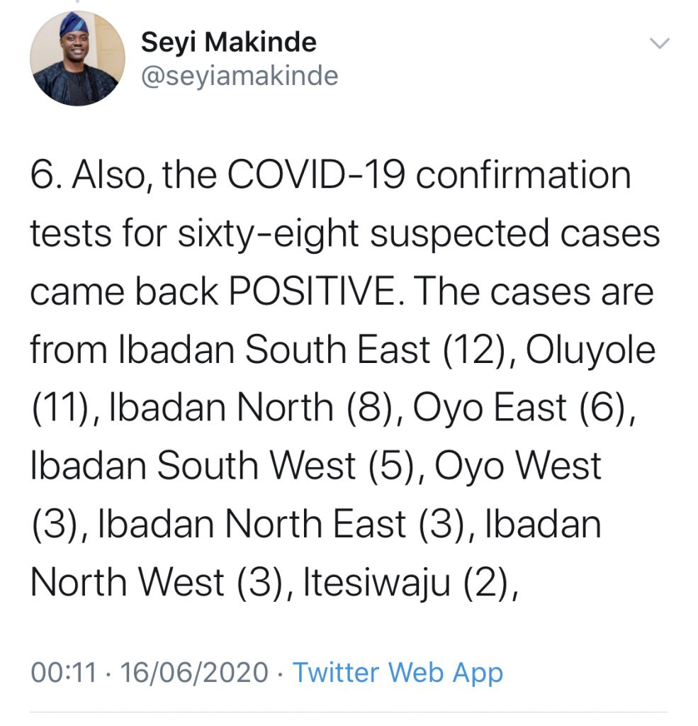 68 new COVID-19 cases in Oyo State