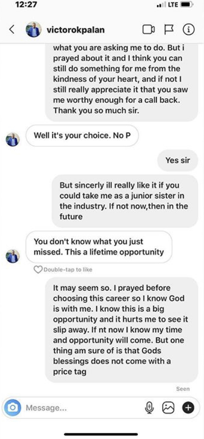 Actress calls out movie producer, Victor Okpala for demanding sex for movie roles