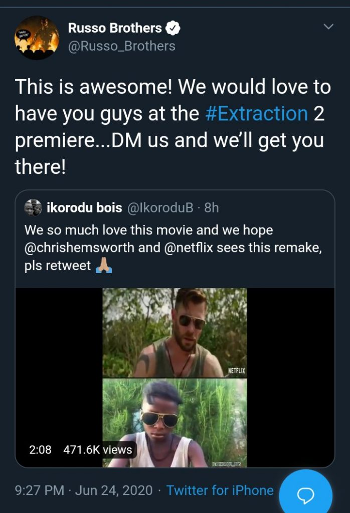 Video: Ikorodu Bois recreate Netflix's Extraction, gets invite to premiere of Extraction 2