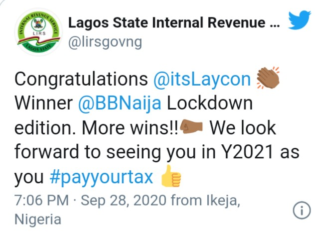 LIRS orders Laycon to pay his tax