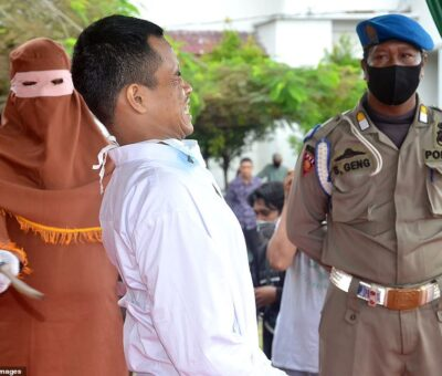 Shocking: An Indonesian man cries for help after being flogged over 100 lashes for rape