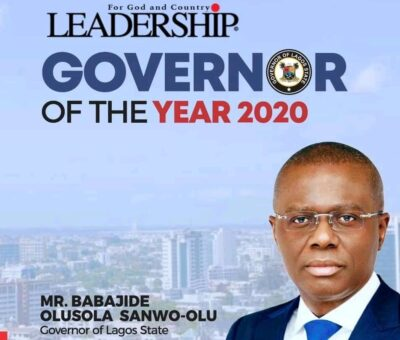 Gbajabiamila rejoices with Sanwo-Olu as he bags Governor of the year award by Leadership, The Nation and New Telegraph newspaper