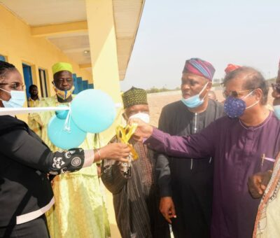 Chairman LASUBEB, Mr. Wahab Alawiye-King Commissions Building Donated By Dangote Oil Refinery Company