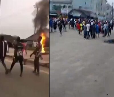 (VIDEO) Massive protest In Rivers State As police officer  kills Keke driver over N100 Bribe