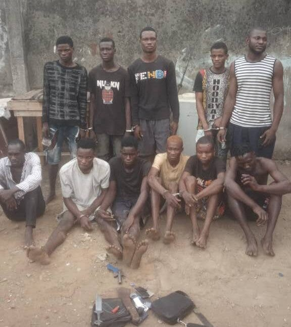 See the pictures of 11 suspected cultists arrested by Lagos State police on Monday
