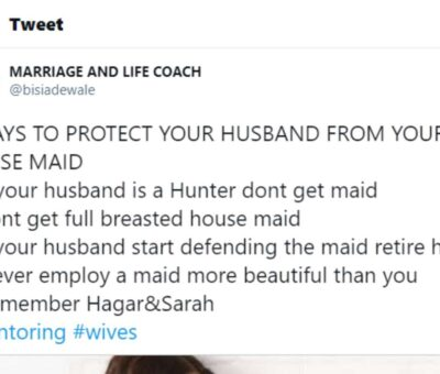 Marriage Coach gets dragged on Twitter for teaching women how to 'protect their husbands from their maids'