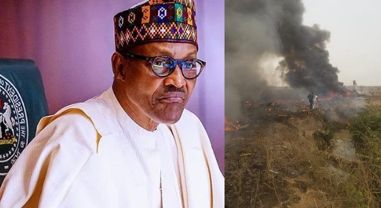 BREAKING: President Buhari Reacts to Abuja Plane Crash