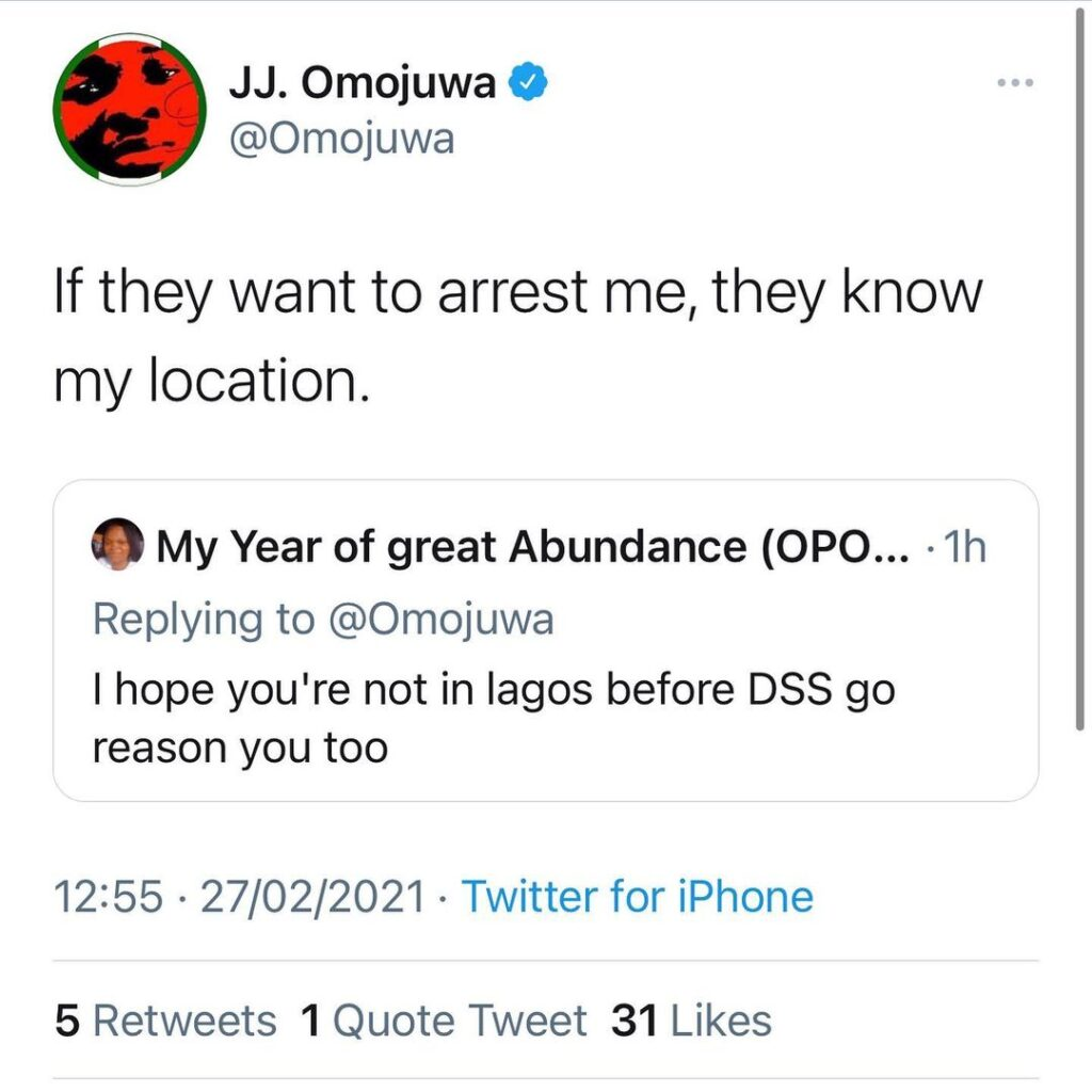 Commentator and Buhari-supporter Omojuwa receives Intel DSS is planning to arrest him