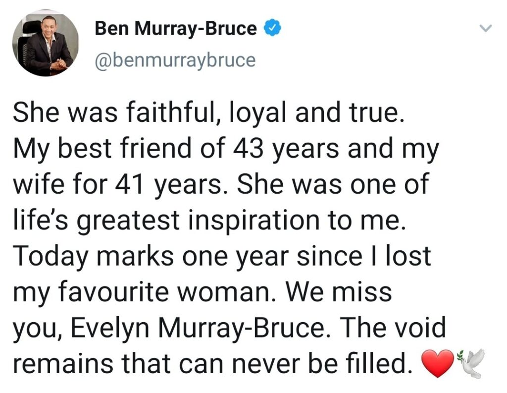 Ben Murray-Bruce remembers late wife, one year later