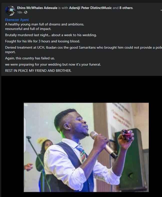 Gospel Singer, Heben Ajayi dies a week to his wedding