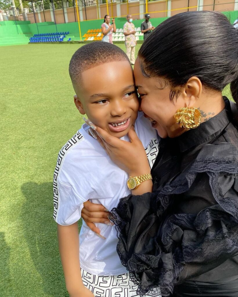 PHOTOS:Tonto Dikeh attends Father's Day event at Son's school