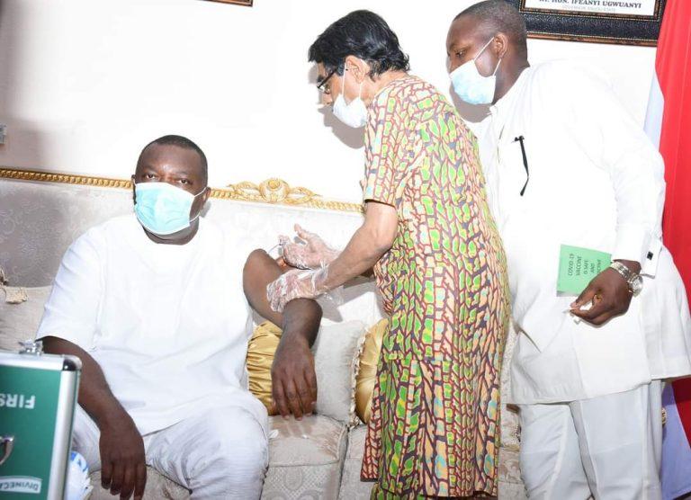 Enugu State Governor, Ifeanyi Ugwunayi Recieves second Covid-19 vaccine Jab