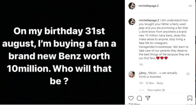 Michelle Page tackles her Senior Colleague, Bobrisky on her promise to a loyal fan on her next birthday