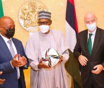 FIFA President, Gianni Infantino visits Buhari in Aso rock